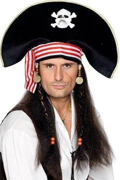 Chapéu Homem Pirata c Cabelo - PartyNight d072f6b3369