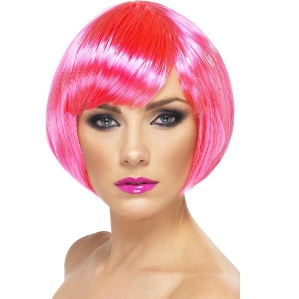 Peruca Mulher Rosa Fluorescente Curta 3ff826d679